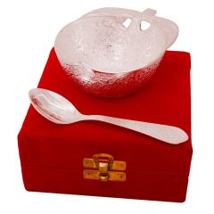 Silver Polished Apple Shape Brass Bowl N Spoon - (Product Code - HCFPGT209)