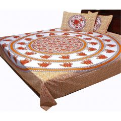 Pioneerpragati Cream And Orange Rajasthani Elephant Print Pure Cotton Double Bedsheet Set
