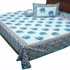 Pioneerpragati Green And Sky Blue Rajasthani Elephant Print Pure Cotton Double Bedsheet Set
