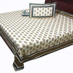 Pioneerpragati Blue And Cream Jaipuri Gold Print Pure Cotton Double Bedsheet Set