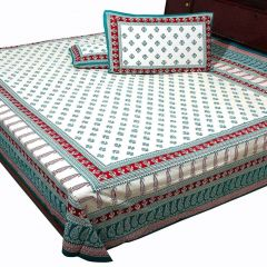 Pioneerpragati Sea Green And Dark Red And Cream Floral And Leafy Print Pure Cotton Double Bedsheet Set