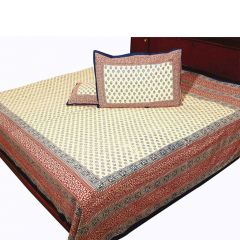 Pioneerpragati Dark Blue And Maroon And Cream Floral And Leafy Print Pure Cotton Double Bedsheet Set