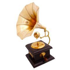 Golden & Brown Brass Square Gramophone Showpiece
