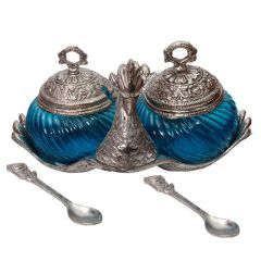 Stylish Duck Shape Turquoise Glass Double Serving Bowl With Lid And Spoon