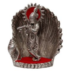 Spiritual Handicraft White Metal Antique Lord Krishna On Naag Idol
