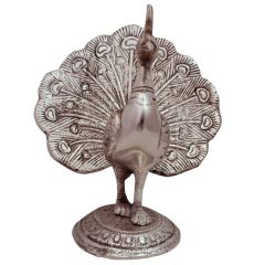 White Metal Decorative Dancing Peacock Showpiece Handicrafts
