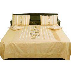 Pioneerpragati 5 Piece Beige Color Jaipuri Silk Double Bed Cover 301-(Product Code-Pgtslk301)