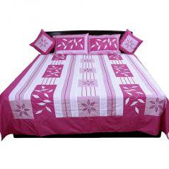 Pioneerpragati 5 Piece Pink Jaipuri Silk Double Bed Cover Set 302-(Product Code-Pgtslk302)