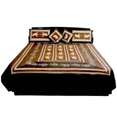Pioneerpragati Rajasthani 5 Piece Brown Silk Double Bed Cover 303-(Product Code-Pgtslk303)