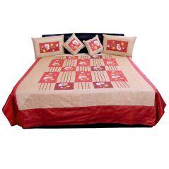 Pioneerpragati 5 Piece Maroon And Brown Silk Double Bed Cover 305-(Product Code-Pgtslk305)