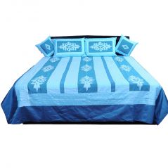 Pioneerpragati 5 Piece Blue Jaipuri Silk Double Bed Cover Set 307-(Product Code-Pgtslk307)