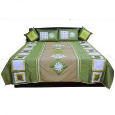 Pioneerpragati Ethnic Design 5 Piece Green Silk Double Bed Cover 308-(Product Code-Pgtslk308)