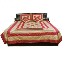 Pioneerpragati Famous Jaipuri 5 Pc. Maroon Silk Double Bed Cover 309-(Product Code-Pgtslk309)
