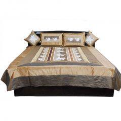 Pioneerpragati Jodhpuri Fancy 5 Piece Brown Silk Double Bed Cover 310-(Product Code-Pgtslk310)