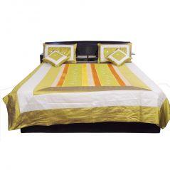 Pioneerpragati 5 Piece Golden Brown Silk Double Bed Cover Set 312-(Product Code-Pgtslk312)