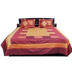 Pioneerpragati Exclusive 5 Pc Maroon Orange Silk Double Bed Cover 315-(Product Code-Pgtslk315)