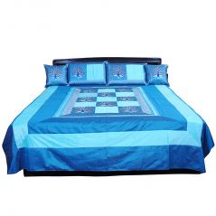 Pioneerpragati 5 Piece Blue Jaipuri Silk Double Bed Cover Set 317-(Product Code-Pgtslk317)