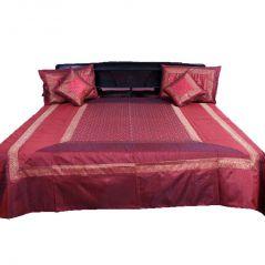 Pioneerpragati Fancy 5 Piece Maroon Jaipuri Silk Double Bed Cover 321-(Product Code-Pgtslk321)