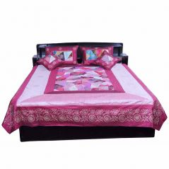 Pioneerpragati Sanganeri Fancy 5 Pc Magenta Silk Double Bed Cover 328-(Product Code-Pgtslk328)
