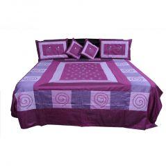 Pioneerpragati Traditional 5 Piece Magenta Silk Double Bed Cover 331-(Product Code-Pgtslk331)