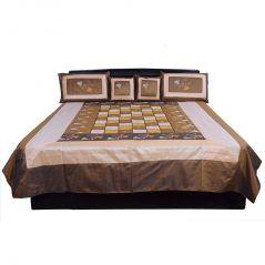 Pioneerpragati Ethnic 5 Piece Brown Jaipuri Silk Double Bed Cover 333-(Product Code-Pgtslk333)