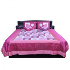 Pioneerpragati 5 Piece Pink Embroidered Silk Double Bed Cover 334-(Product Code-Pgtslk334)