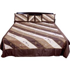 Pioneerpragati 5 Piece Designer Embroidered Silk Double Bed Cover 336-(Product Code-Pgtslk336)