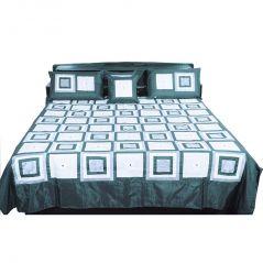 Pioneerpragati Jaipuri Royal 5 Piece Brown Silk Double Bed Cover 338-(Product Code-Pgtslk338)