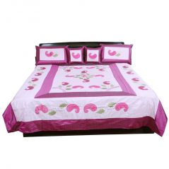 Pioneerpragati 5 Piece Embroidered Silk Double Bed Cover Set 339-(Product Code-Pgtslk339)