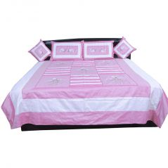 Pioneerpragati 5 Piece Pink Embroidered Silk Double Bed Cover 341-(Product Code-Pgtslk341)