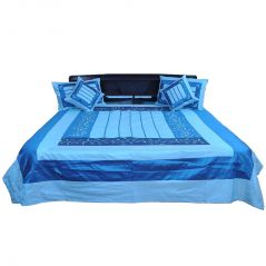 Pioneerpragati Embroidered Design 5 Piece Silk Double Bed Cover 342-(Product Code-Pgtslk342)