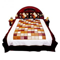 Pioneerpragati 5 Piece Chess Design Silk Double Bed Cover Set 353-(Product Code-Pgtslk353)