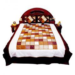 Pioneerpragati 5 Piece Chess Design Silk Double Bed Cover Set 353-(Product Code-Pgtslk353)