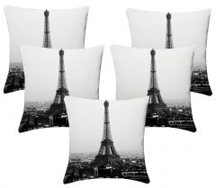 Lushomes Digital Print Black & White Cushion Covers (Pack of 5)