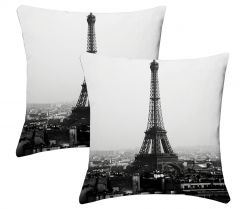 Lushomes Digital Print Black & White Cushion Covers (Pack of 2)