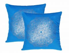 Lushomes Royal Blue Cushion Covers with Gold Foil Print (Pack of 2)