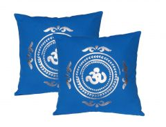 Lushomes Royal Blue Cushion Covers with Silver Foil Print (Pack of 2)