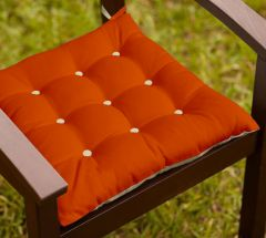 Lushomes Red Wood and Ecru Chair Cushion with 18 Buttons 4 Strings