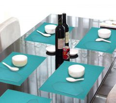 Lushomes Turquoise 6 Cotton Mats & 6 Plain Cotton Napkins (12 Pcs) - COPM6NP6-1001