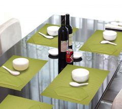 Lushomes Lime Green 6 Cotton Mats & 6 Plain Cotton Napkins (12 Pcs) - COPM6NP6-1003