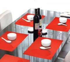 Lushomes Red 6 Cotton Mats & 6 Plain Cotton Napkins (12 Pcs) - COPM6NP6-1004