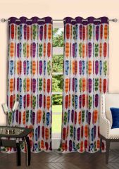 Lushomes Digitally Printed Feather Polyster Door Curtains