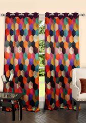 Lushomes Digitally Printed Galaxy Polyster Door Curtains