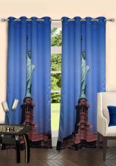 Lushomes Digitally Printed Statue Of Liberty Polyster Door Curtains