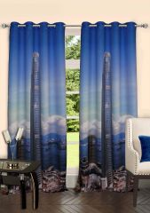 Lushomes Digitally Printed Skyscraper Polyster Door Curtains