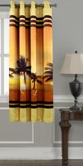 Lushomes Digitally Printed Beach Polyester Blackout Curtains For Windows (Single Pc) - POBCNDGPDW1017