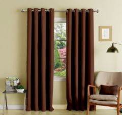 Lushomes Dark Brown Polyester Blackout Curtains With 8 Eyelets For Door