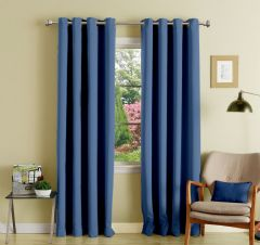 Lushomes Blue Polyester Blackout Curtains With 8 Eyelets For Door