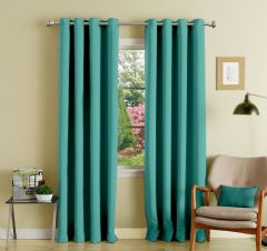 Lushomes Blue Stone Polyester Blackout Curtains With 8 Eyelets For Door