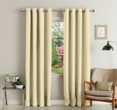 Lushomes Cream Polyester Blackout Curtains With 8 Eyelets For Long Door